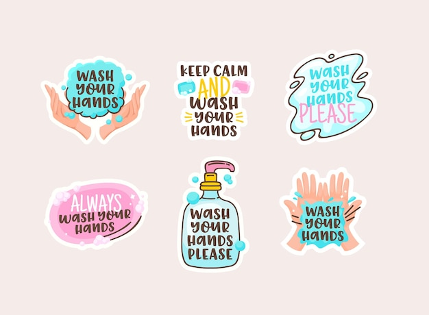 Wash your hands cartoon stickers with doodle lettering, clean human palms and soap bar with bottle and water spot. disease prevention, hygiene design elements. vector illustration, icons collection