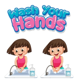 Wash your hands font design with girl washing her hands isolated on white