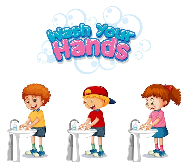 Wash your hands font design with kids washing their hands on white background