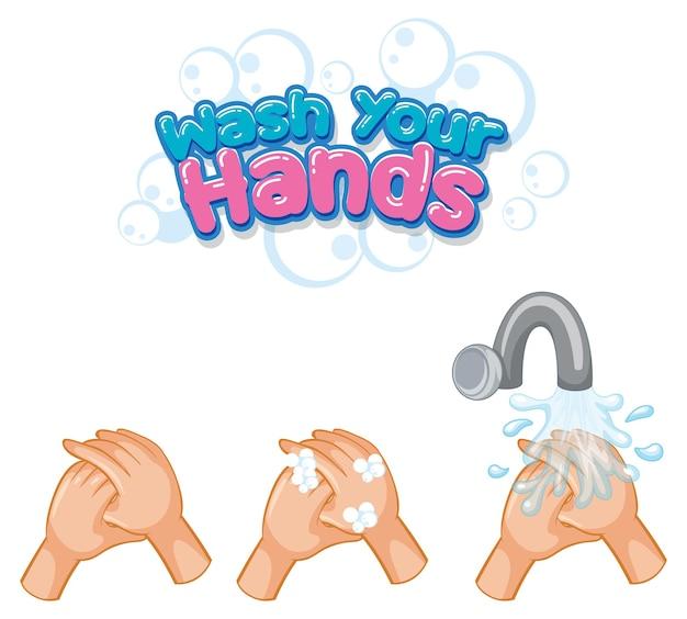 Lavati le mani con il design dei caratteri con la diffusione del virus dallo stringere la mano su sfondo bianco