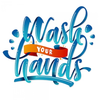 Wash your hands lettering