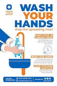 Wash your hands poster in flat design style