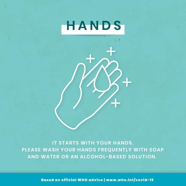 코로나바이러스 인스타그램 템플릿을 예방하기 위해 손을 씻으세요