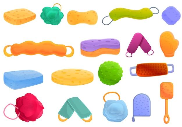 Washcloth icons set, cartoon style