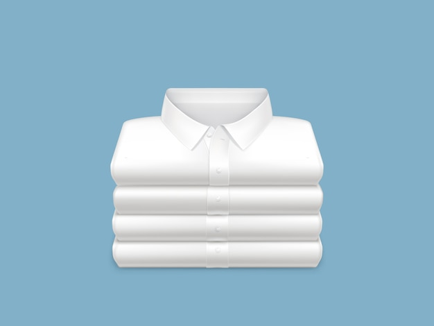Washed, clean, ironed and folded in stack white shirts 3d realistic