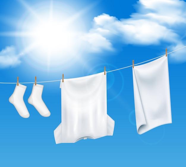 세탁 된 세탁 하늘 구성
