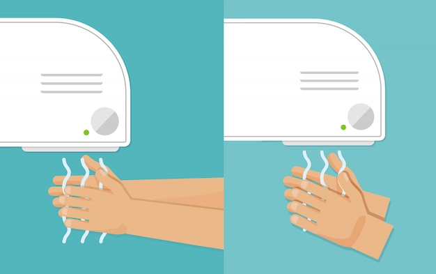 Washes hands and drying hands.  illustration