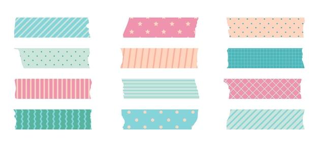 Набор малярных лент washi. симпатичный скотч-бумажный стикер для альбома для вырезок. набор лент в японском стиле с лентой, точечный декоративный элемент.