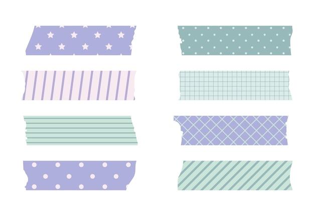 Washi masking tape set. cute scotch paper sticker for scrapbook. tape set of japanese style with ribbon, dot decorative element.