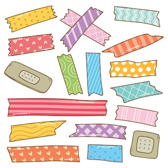 Washi tape doodle isolated on white