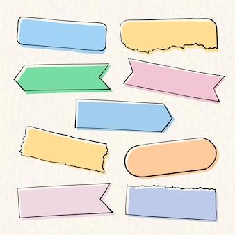 手描きスタイルの和紙テープベクトルパステルセット