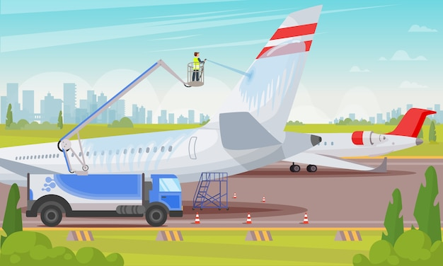 Washing aircraft at airport flat illustration.