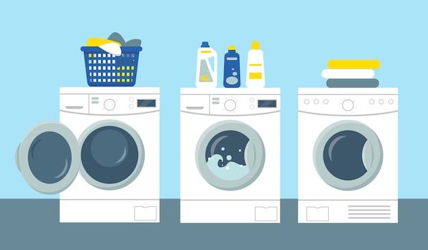 Стиральные и сушильные машины с порошком и моющим средством