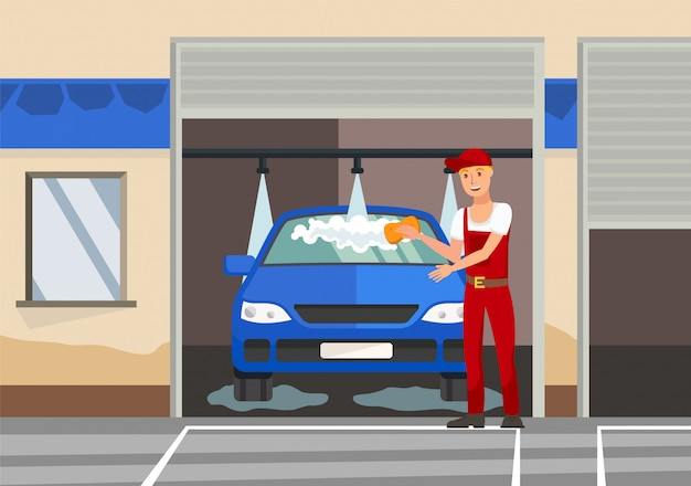 Washing automobile flat vector color illustration