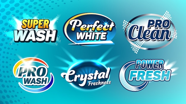 Washing cleaner creative company logo set