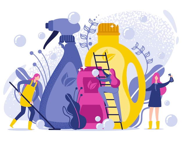 Washing and cleaning products flat illustration.