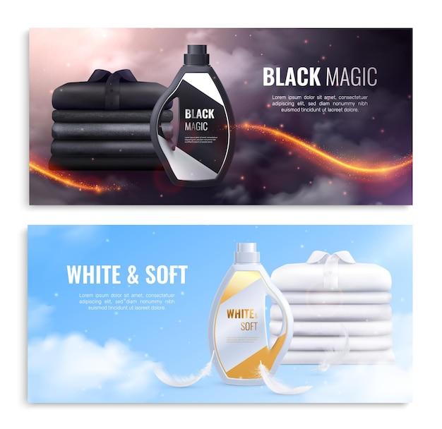 Washing clothes realistic banners with advertising of soft detergent for white and black linen