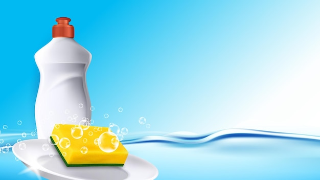 Washing detergent for wash plates copyspace vector