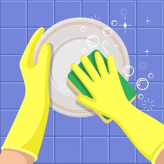 皿洗い。スポンジ付きの黄色の手袋をはめた手が皿を洗います。清掃会社のコンセプト。
