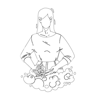 Washing dishes with soap in kitchen sink black line pencil drawing vector. young woman washing dishes with bubble detergent and sponge after dinner. character girl wash plates, homework illustration