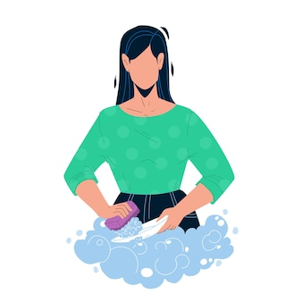 Washing dishes with soap in kitchen sink vector. young woman washing dishes with bubble detergent and sponge after dinner. character girl wash plates, homework flat cartoon illustration