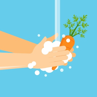 果物や野菜を洗う