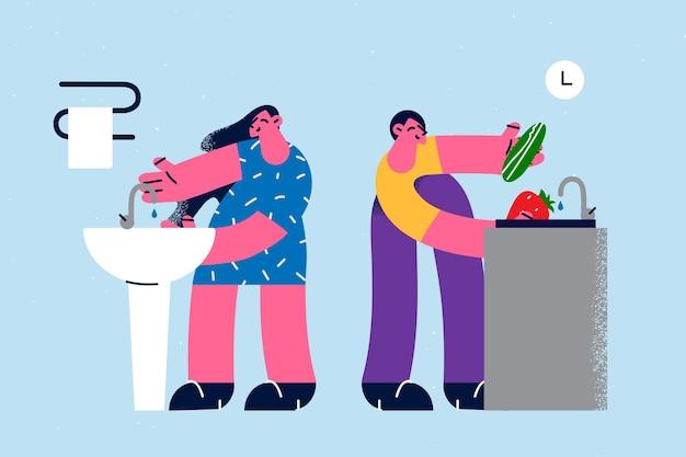 Стирка товаров и концепция гигиены. молодая женщина и мужчина герои мультфильмов, стоящие возле раковины с проточной водой и мытье фруктов, овощей и рук, чистящие векторные иллюстрации