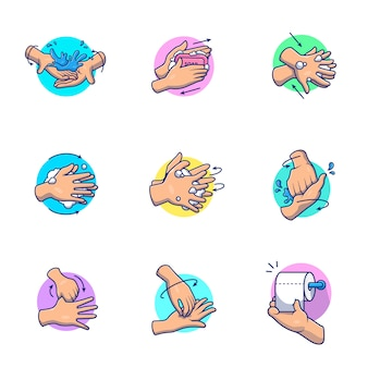 Стиральная рука значок иллюстрации. люди руки моют мультфильм. здравоохранение и медицинская икона концепция изолированные