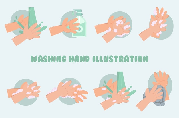 Washing hand illustration pack