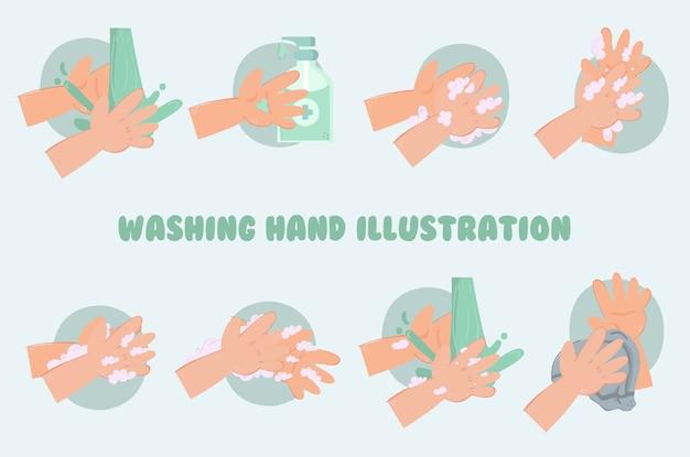 Washing hand illustration pack