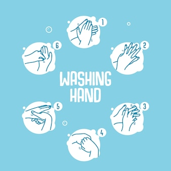 Washing hand infographic vector