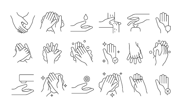 Washing hand. soap pump cleaning hygiene step foam bathroom medical symbols vector illustrations. soap hygiene for health, cleanser disinfecting