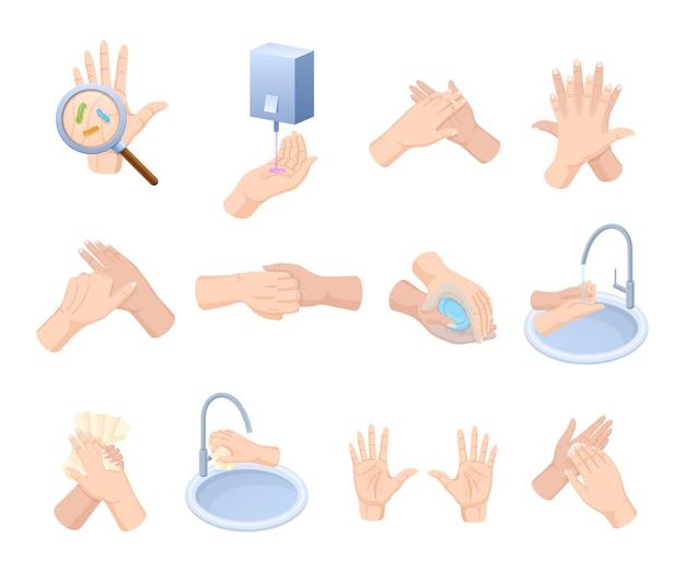 손 씻기 지침 세트. 깨끗한 팔은 거품 비누와 액체 세제 살균제를 사용하여 씻으십시오. 물에 항균 세척 및 종이 타월 건조. 건강한 피부 관리 질병 예방 평면 벡터