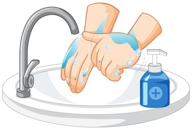 白い背景の上の手を洗う