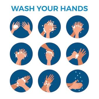 Мытье рук с мылом и водой правильно мультфильм векторные иллюстрации. плоская медицинская гигиена личной процедуры очистки кожи красочная концепция. шаблон оформления шагов защиты от вирусов