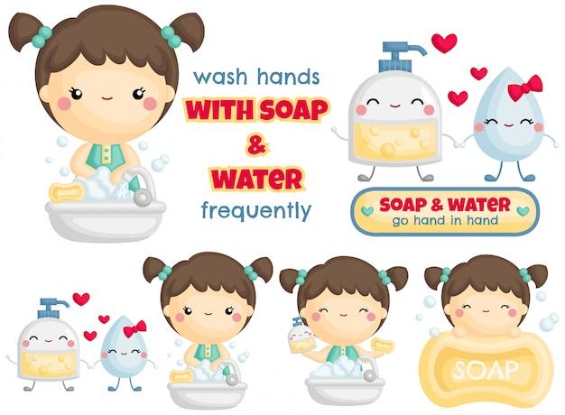 石鹸と水で手を洗う