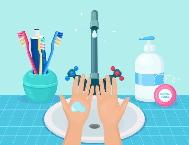 Мытье рук мыльной пеной, скрабом, гелевыми пузырьками. водопроводный кран, кран протекает в раковине. личная гигиена, повседневная концепция. чистое тело. векторный мультфильм дизайн