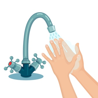 Washing hands with soap foam, scrub, gel bubbles. water tap, faucet leak.