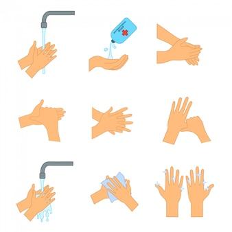 石鹸で手を洗います。コロナウイルス感染を防ぐために手を洗う方法。個人衛生、疾病予防