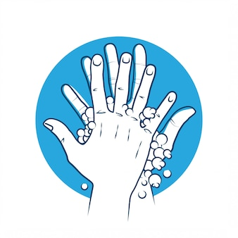 Washing hands with soap icon concept sign. coronavirus covid-19 preventive concept. illustration.