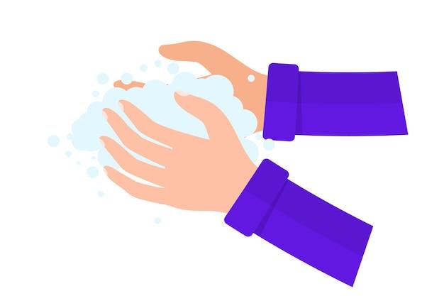 비누 벡터 일러스트 레이 션으로 손을 씻으십시오. 매일 개인 관리를 위해 손을 씻고 바이러스와 박테리아를 예방하십시오. 개인위생, 소독제