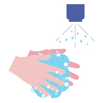 Washing hands with soap washing hands with soap to prevent virus and bacteria