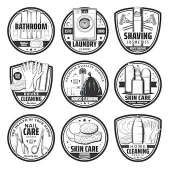 세척, 위생 및 집 청소 복고풍 아이콘. 집 청소 서비스 세제 및 용품