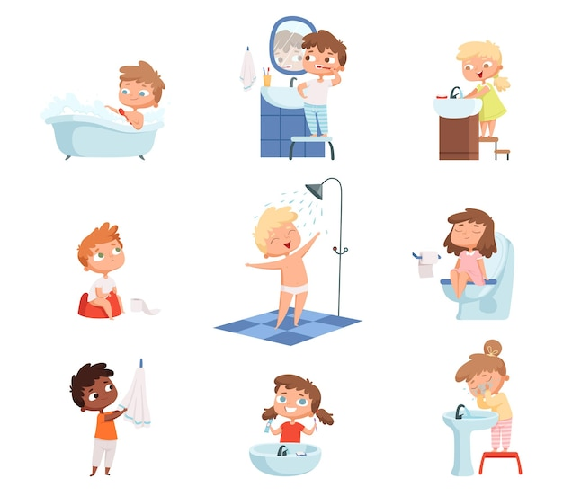 子供を洗う。子供の日常のセットのための歯磨きトイレ衛生石鹸。