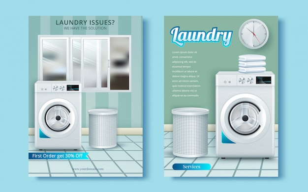 Washing machine on abstract vector flyer. brochure design template
