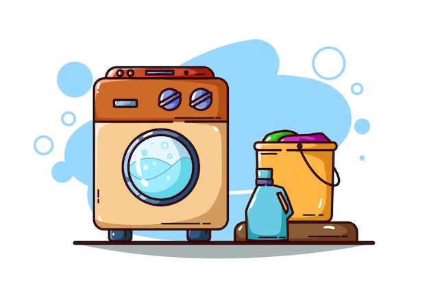 白で隔離の洗濯機と衣類のバケツ