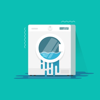 Washing machine broken or damaged vector illustration flat cartoon