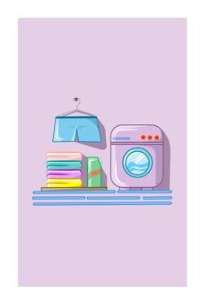 洗濯機、洗剤、衣類