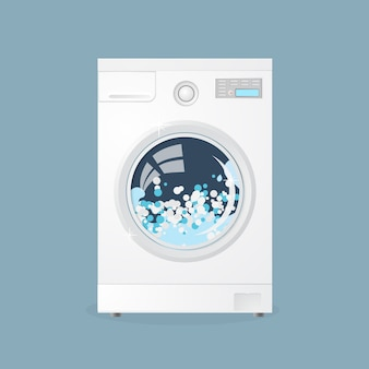 Washing machine in flat style