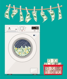 Washing machine full of dollars banknotes. laundering of money in washer. dirty money. hidden wages, salaries black payments, tax evasion, bribe. anti corruption. Premium Vector